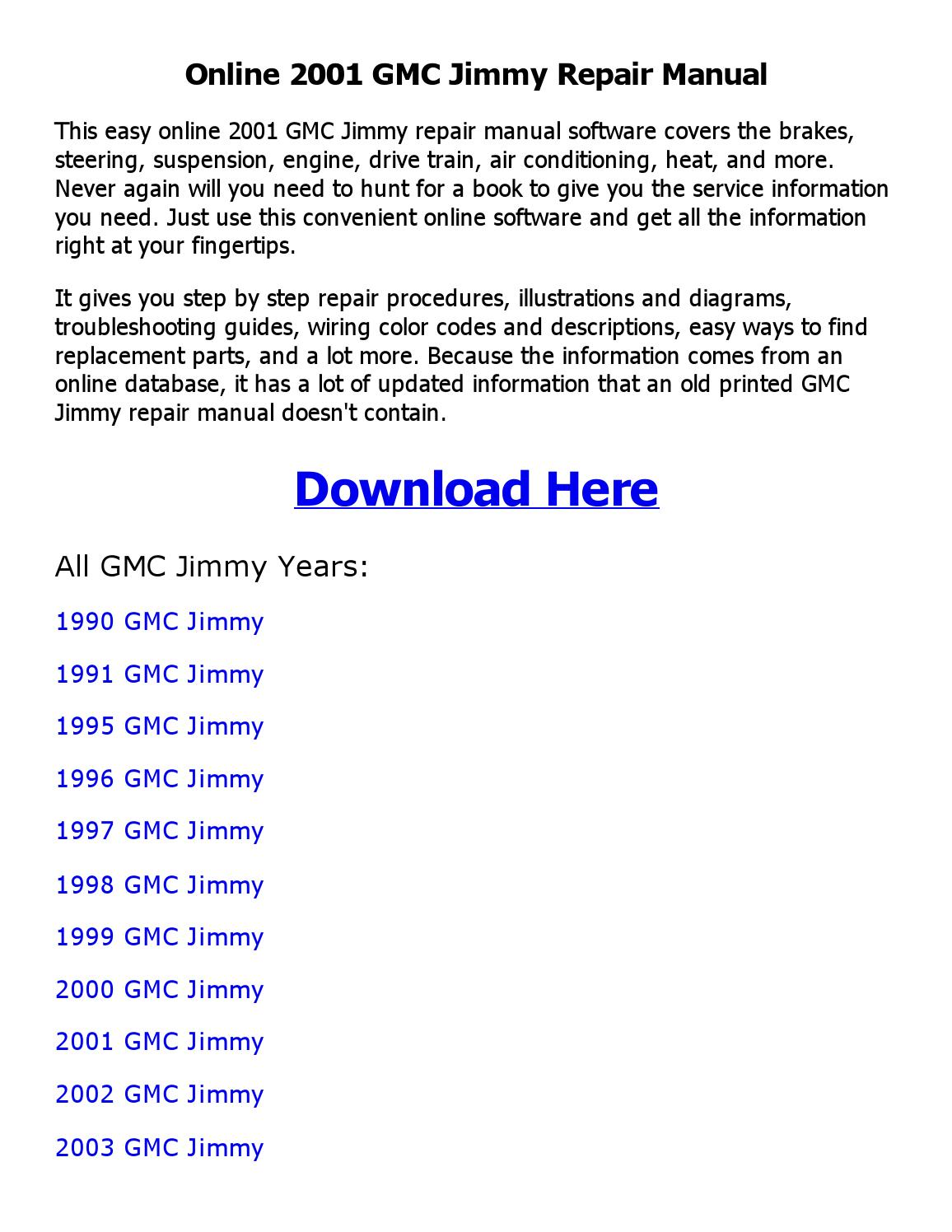2000 gmc jimmy repair manual