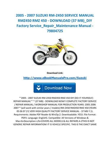 2009 suzuki rmz 250 manual free download