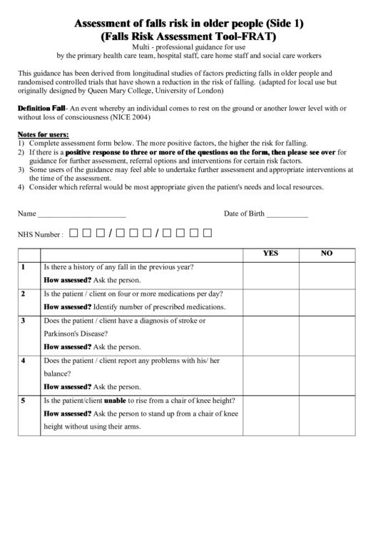 Home falls risk assessment tool pdf