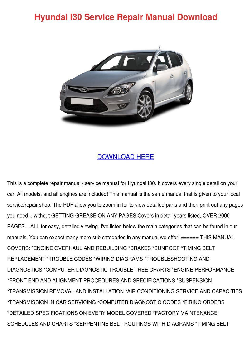 hyundai i30 2010 service manual