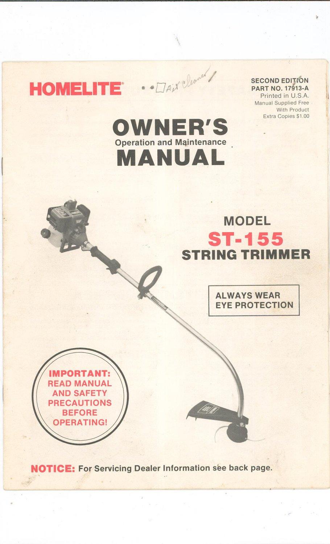 homelite textron chainsaw manual pdf