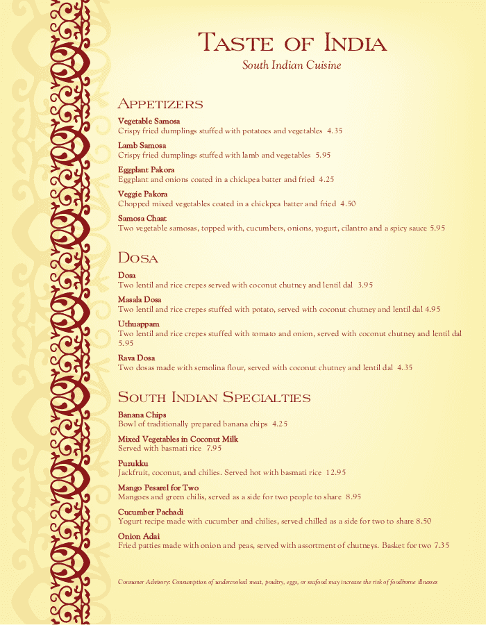 South indian restaurant menu pdf