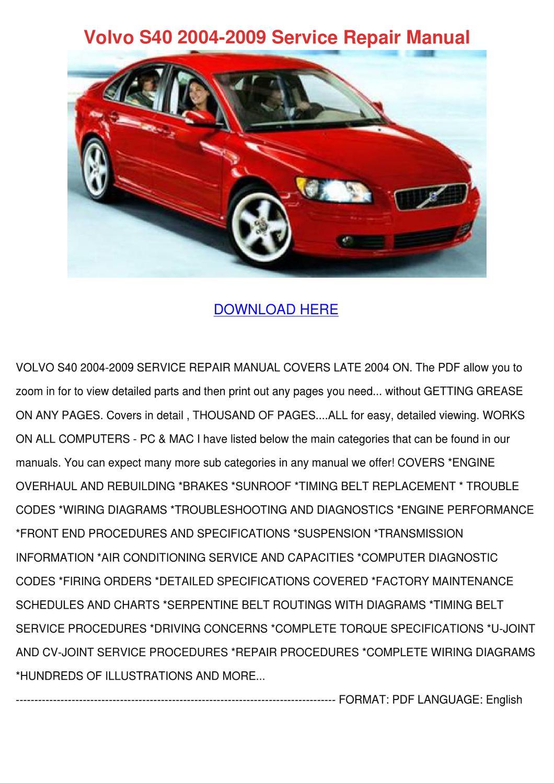 Volvo s40 service manual pdf