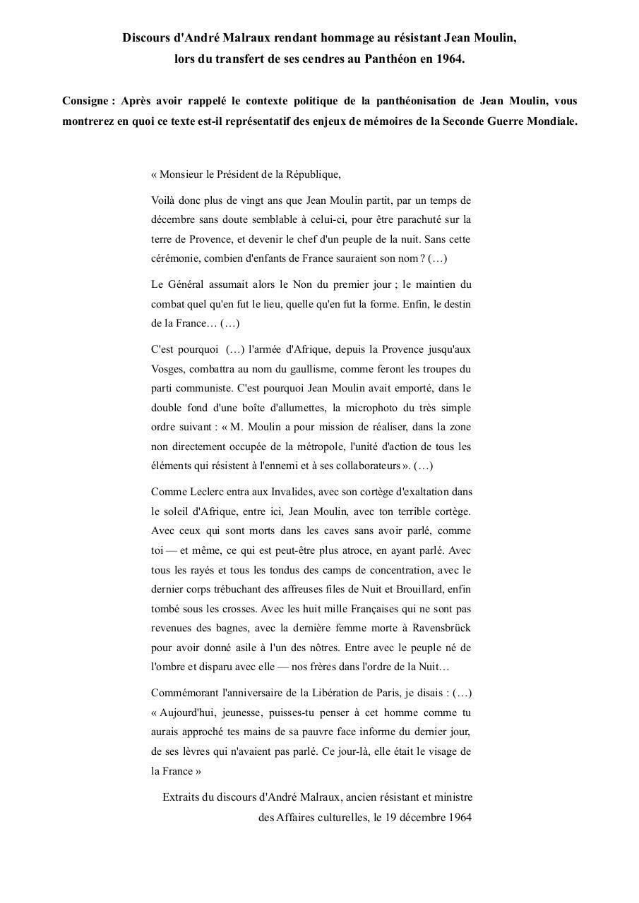 Discours malraux jean moulin pdf