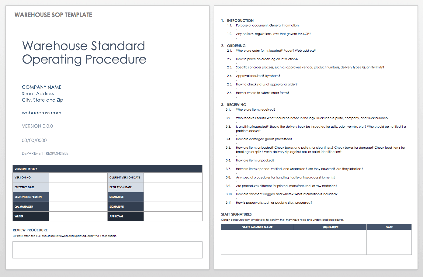 Standard operating procedures manual template free