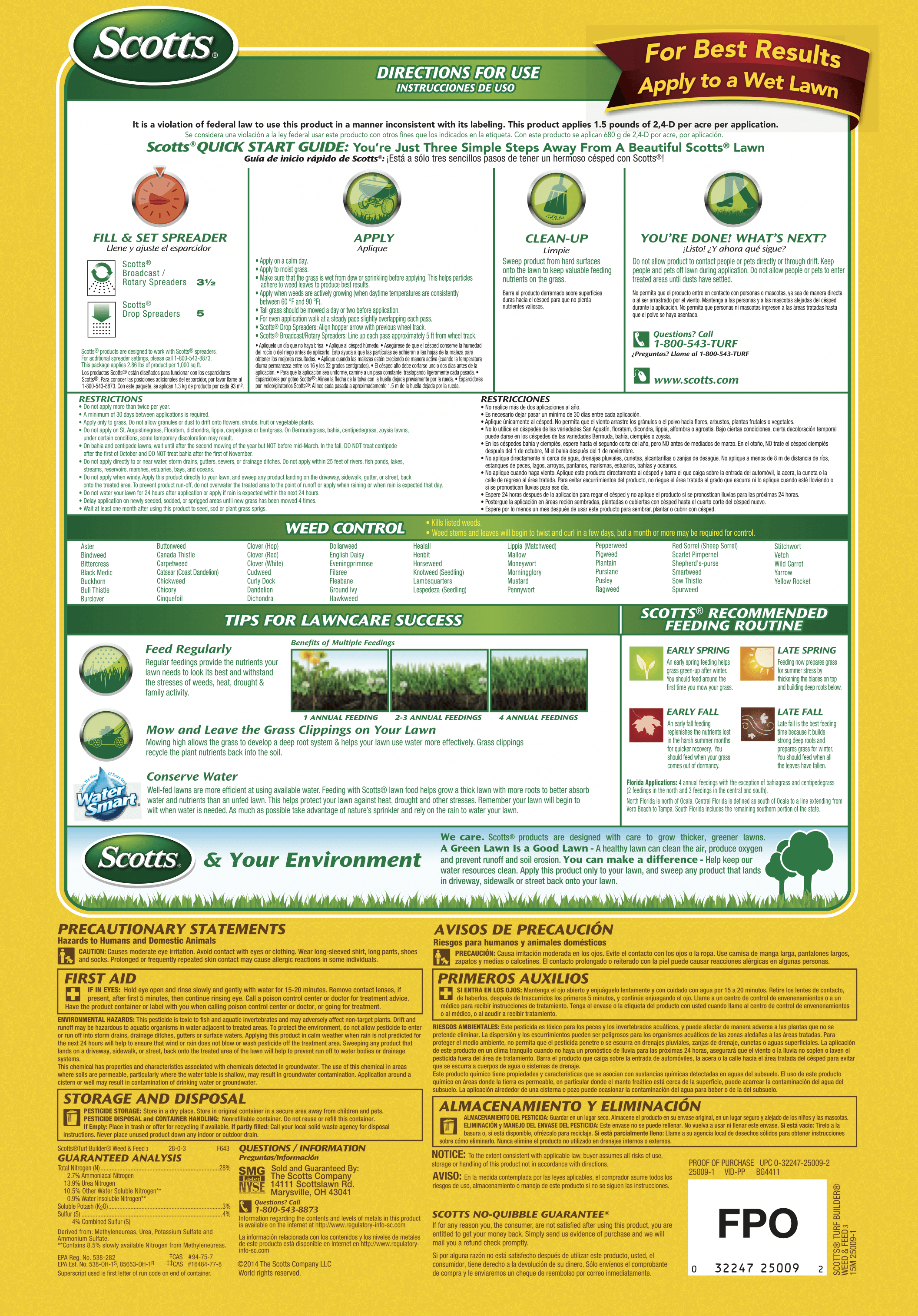scotts fall weed and feed instructions
