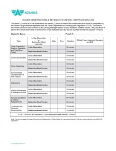 tdlr classroom instruction log pdf