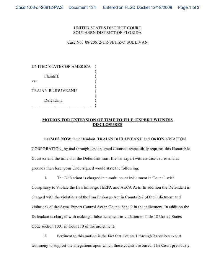 Application for extension of time federal court examples