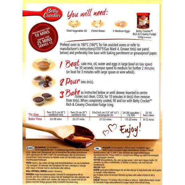 Betty crocker carrot cake mix instructions