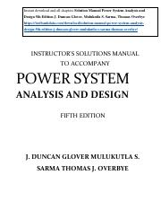 power system analysis and design 6th edition solution manual