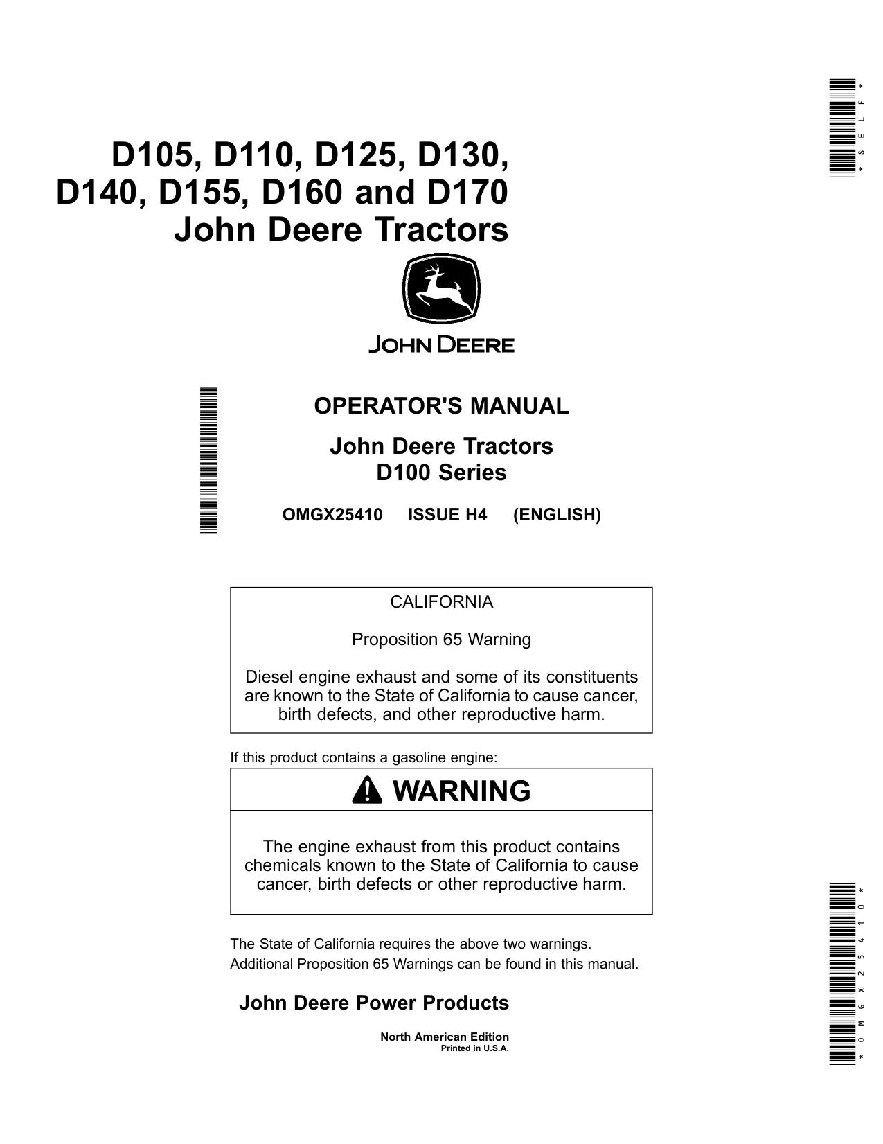 John deere d160 vs d170 manual
