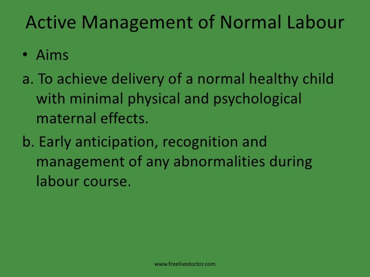 Management of normal labour pdf